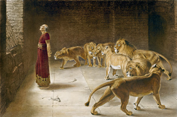Briton Riviere. Daniel in the pit of lions.