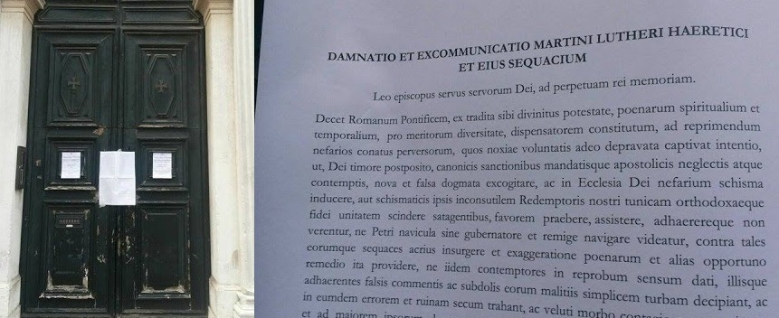 A prankster taped «Decet Romanum Ponteficem» on the doors of the Chiesa Evangelica Alemanna in Venice next to the signs proclaiming the celebration of the Protestant «Reform».