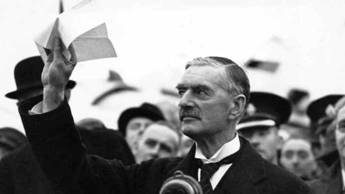 Neville Chamberlain announcing Peace for Our Time, because Hitler signed a piece of paper...