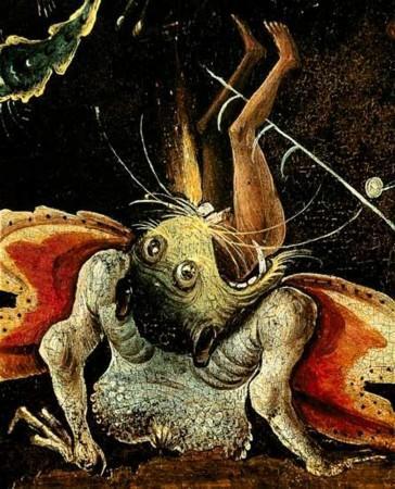 Jérôme Bosch. Le Jugement Dernier, détail d'un homme mangé par un monstre.